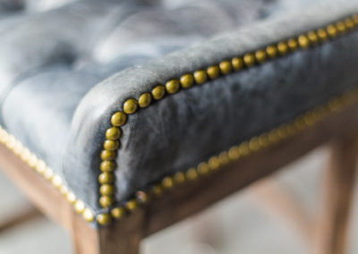 close up detail of studded chair