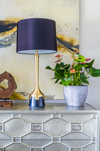 gold blue lamp