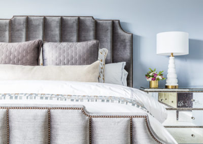 gray fabric beframe light blue wall