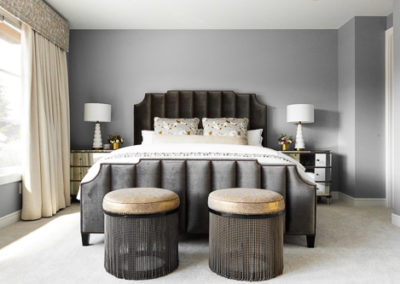 gray tone bedroom with white