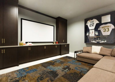 home media room with projector screen