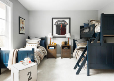 kids room baseball theme blue