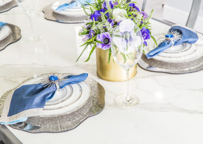 marble dining table blue purple accents