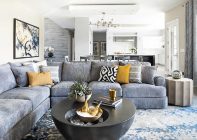 open concept living room blue theme