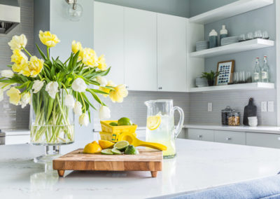 white marble countertop yellow flowers